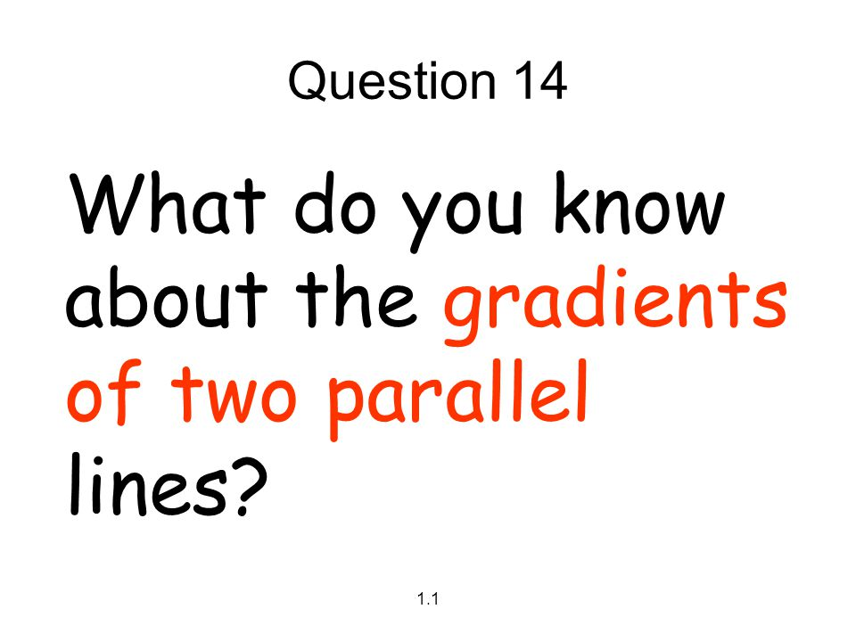 What do you know about the gradients of two parallel lines