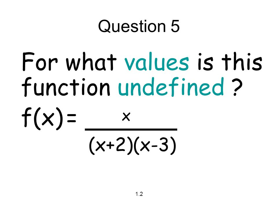 For what values is this function undefined f(x) = x