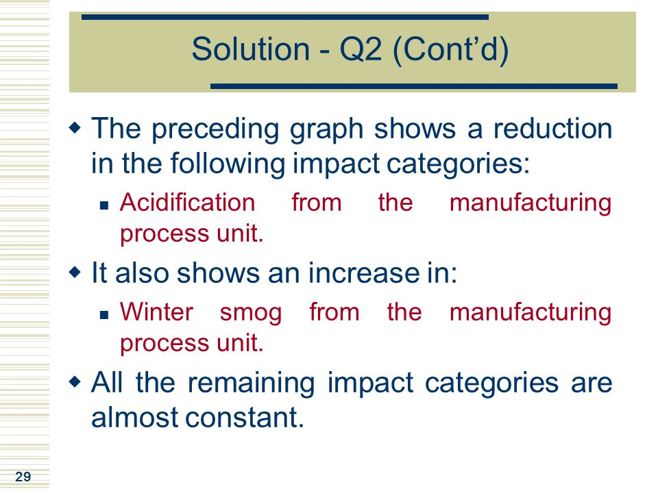 Solution - Q2 (Cont'd) The preceding graph shows a reduction in the following impact categories: Acidification from the manufacturing process unit.