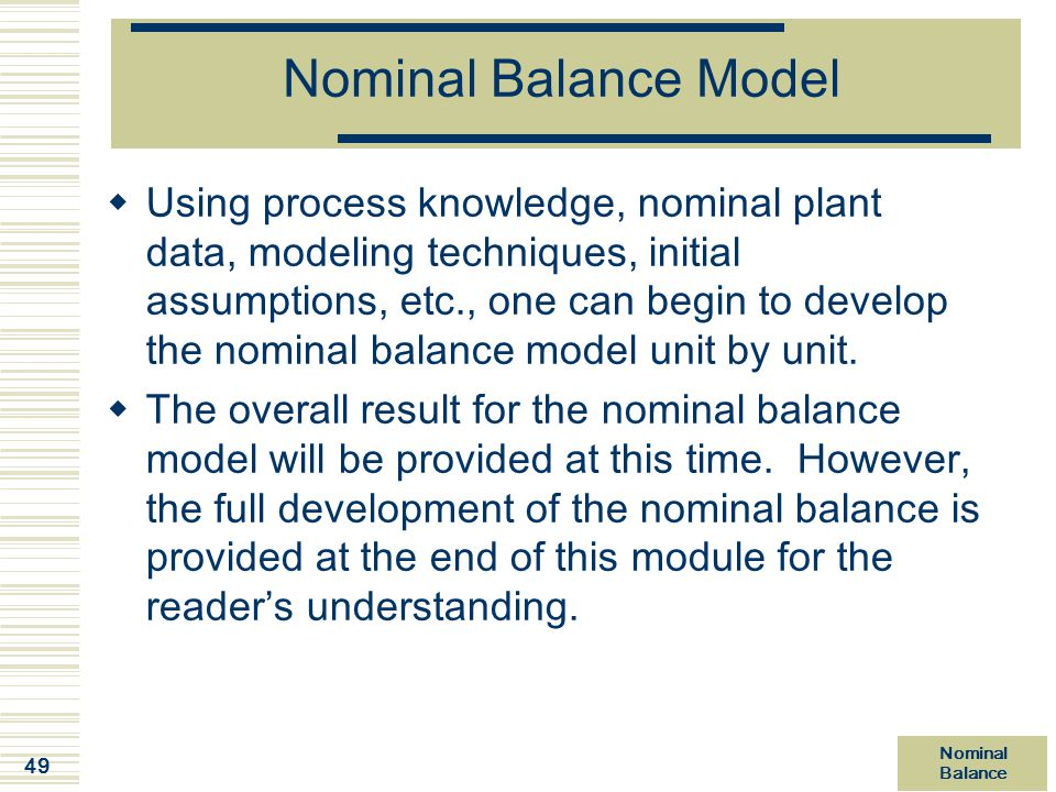 Nominal Balance Model
