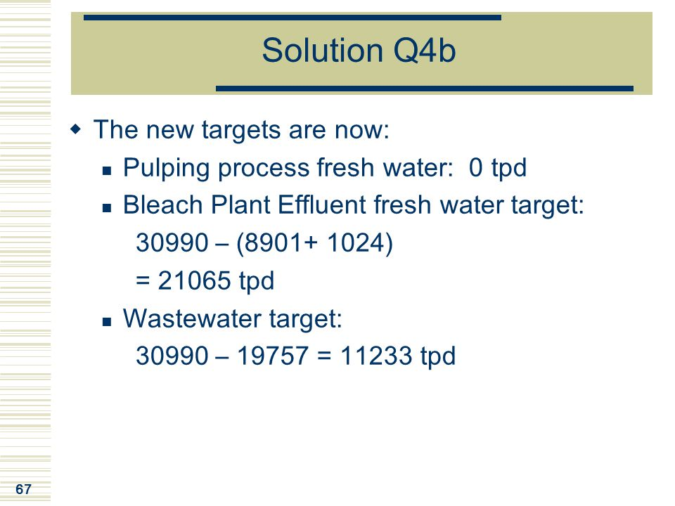 Solution Q4b The new targets are now: