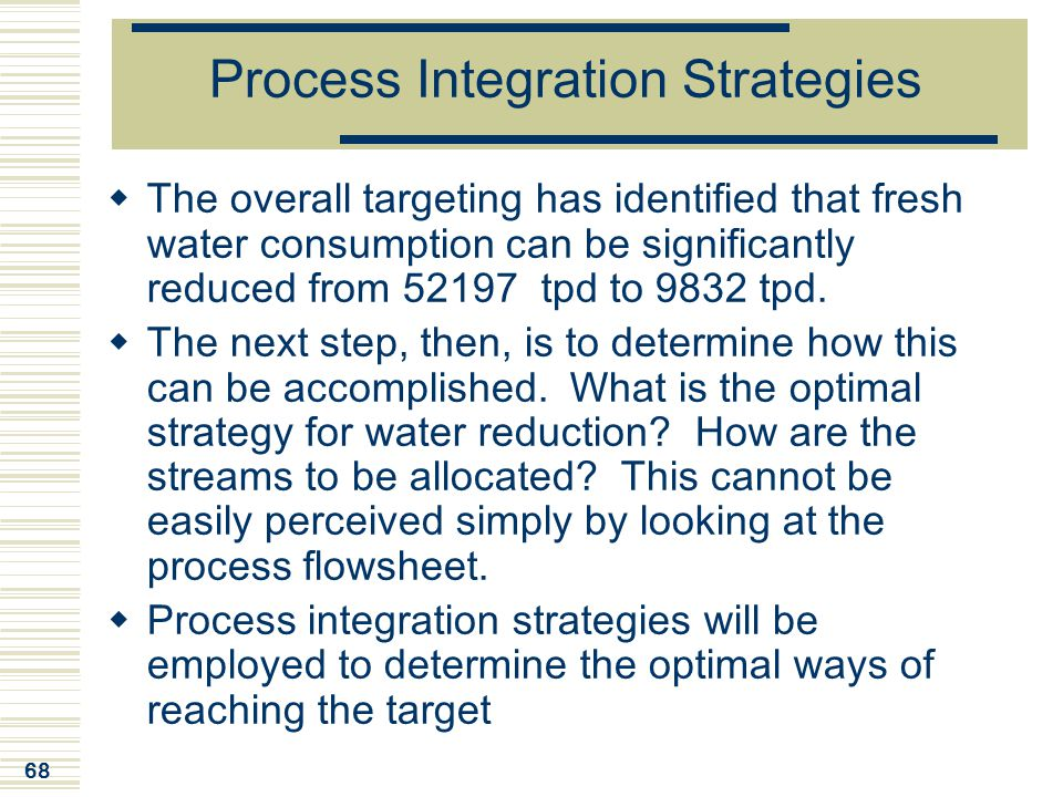 Process Integration Strategies