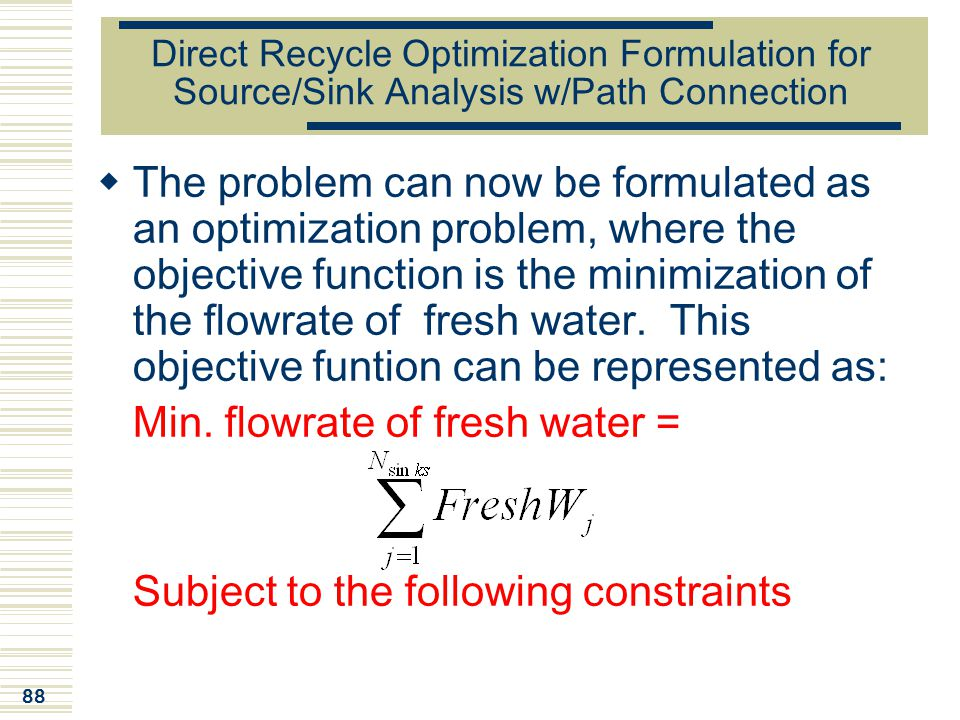 Min. flowrate of fresh water =