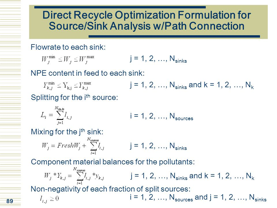 Direct Recycle Optimization Formulation for Source/Sink Analysis w/Path Connection