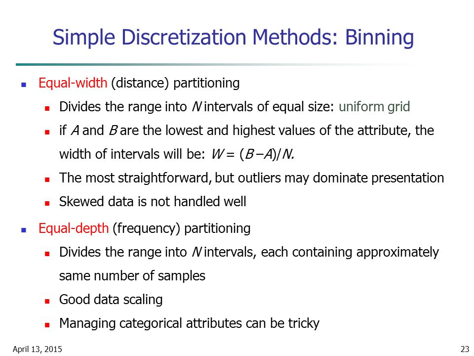 Simple Discretization Methods: Binning