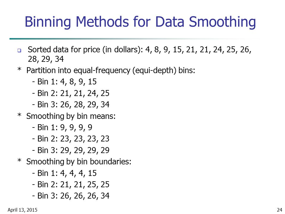Binning Methods for Data Smoothing