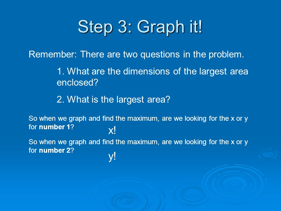 Step 3: Graph it! Remember: There are two questions in the problem. 1. What are the dimensions of the largest area enclosed