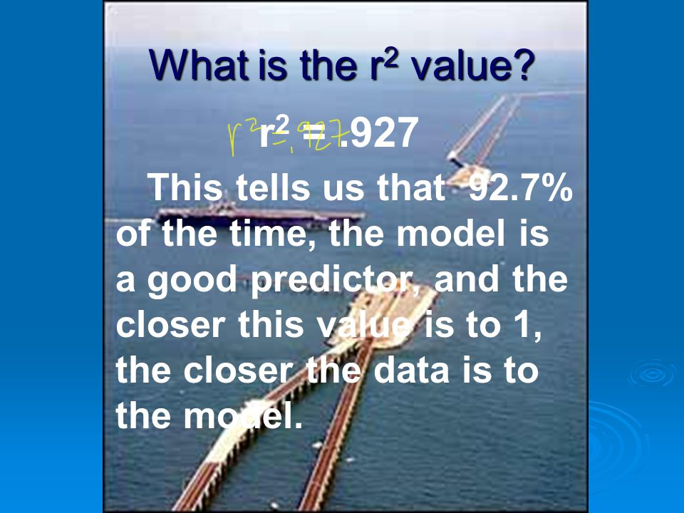What is the r2 value r2 = .927.