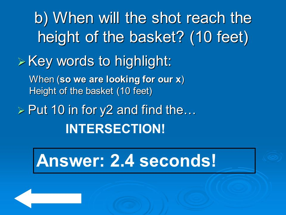 b) When will the shot reach the height of the basket (10 feet)
