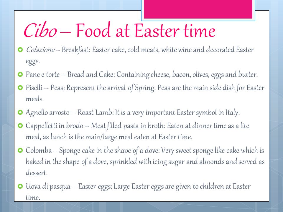 Cibo – Food at Easter time