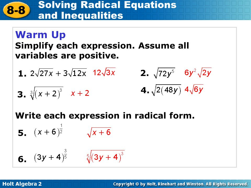 Warm Up Simplify each expression. Assume all variables are positive.
