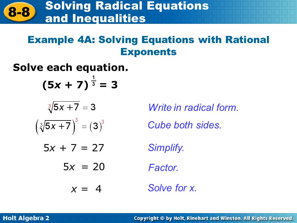 Example 4A: Solving Equations with Rational Exponents