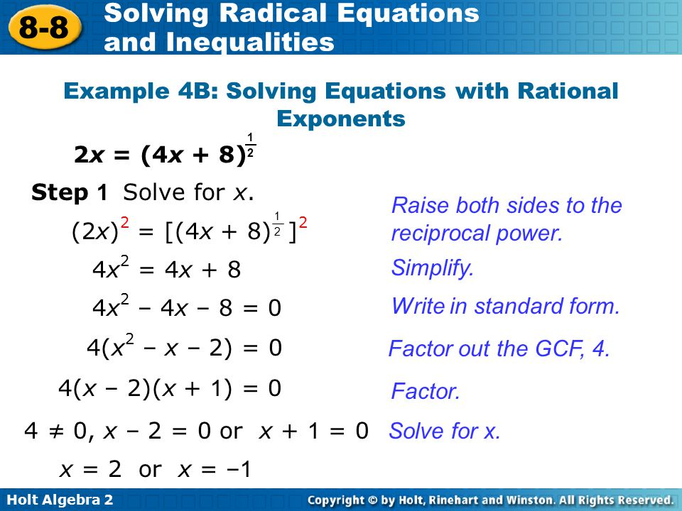 Example 4B: Solving Equations with Rational Exponents