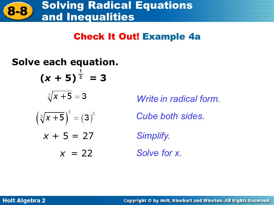 Check It Out! Example 4a Solve each equation. (x + 5) = 3