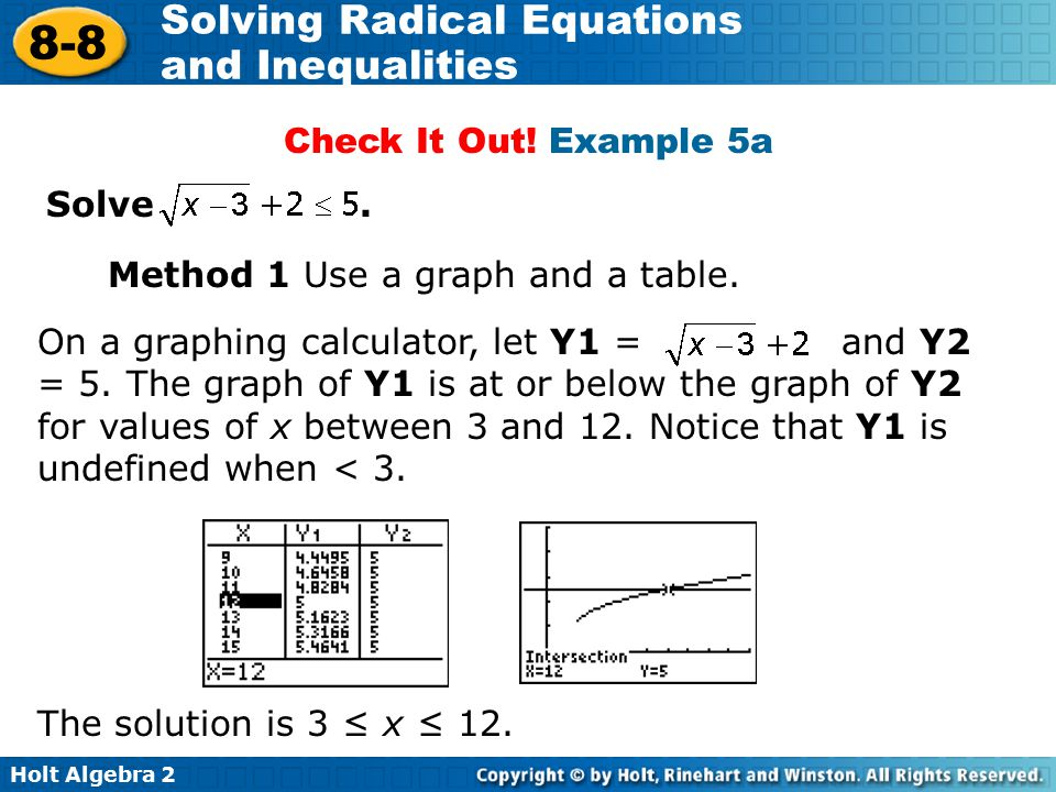 Check It Out! Example 5a Solve . Method 1 Use a graph and a table.
