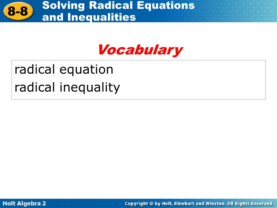 Vocabulary radical equation radical inequality