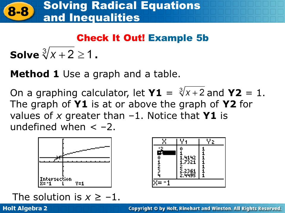 Check It Out! Example 5b Solve . Method 1 Use a graph and a table.