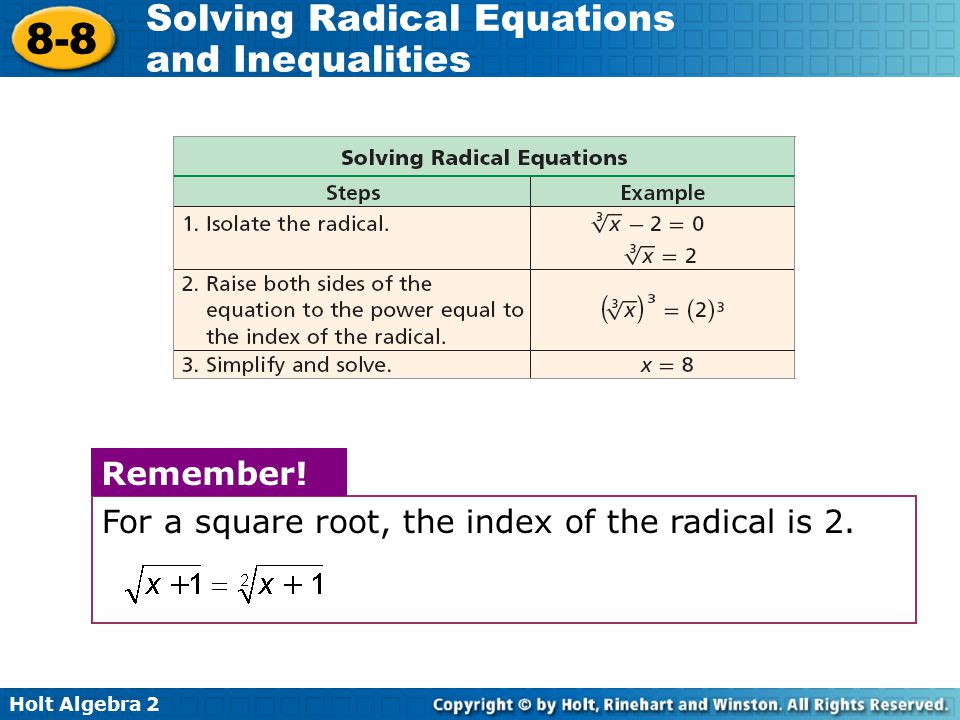 Remember! For a square root, the index of the radical is 2.