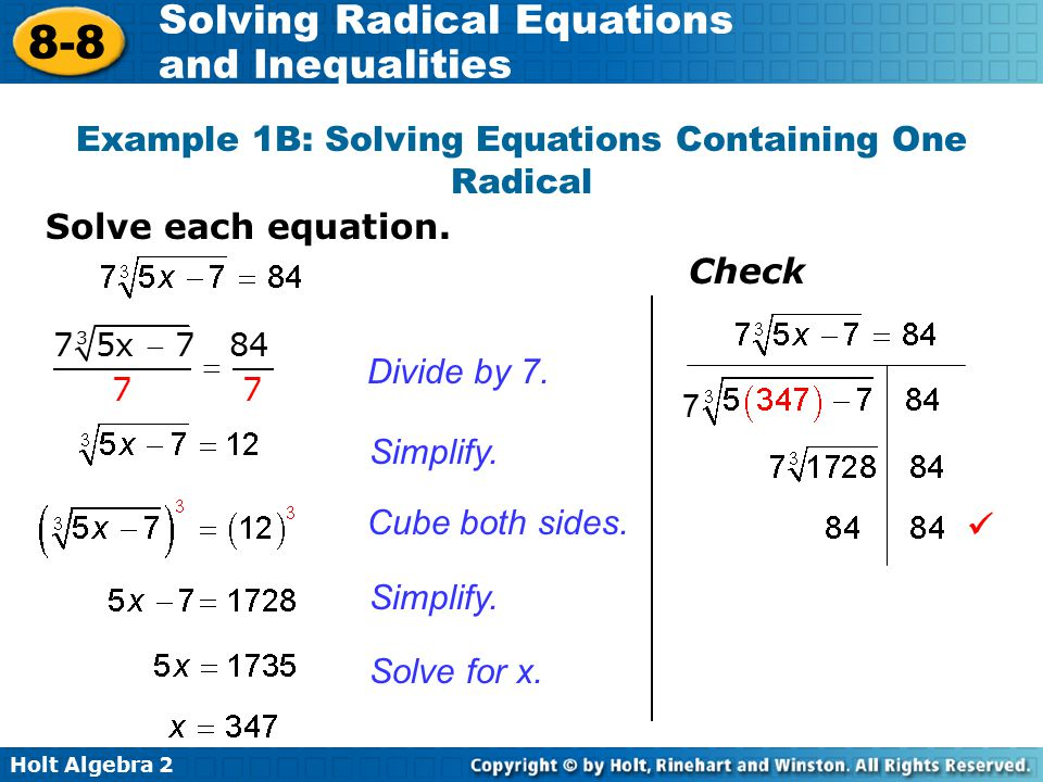 Example 1B: Solving Equations Containing One Radical