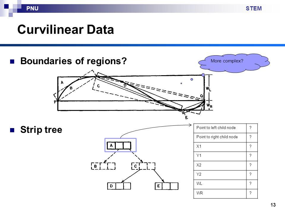 Curvilinear Data Boundaries of regions Strip tree More complex