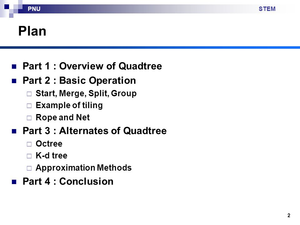 Plan Part 1 : Overview of Quadtree Part 2 : Basic Operation
