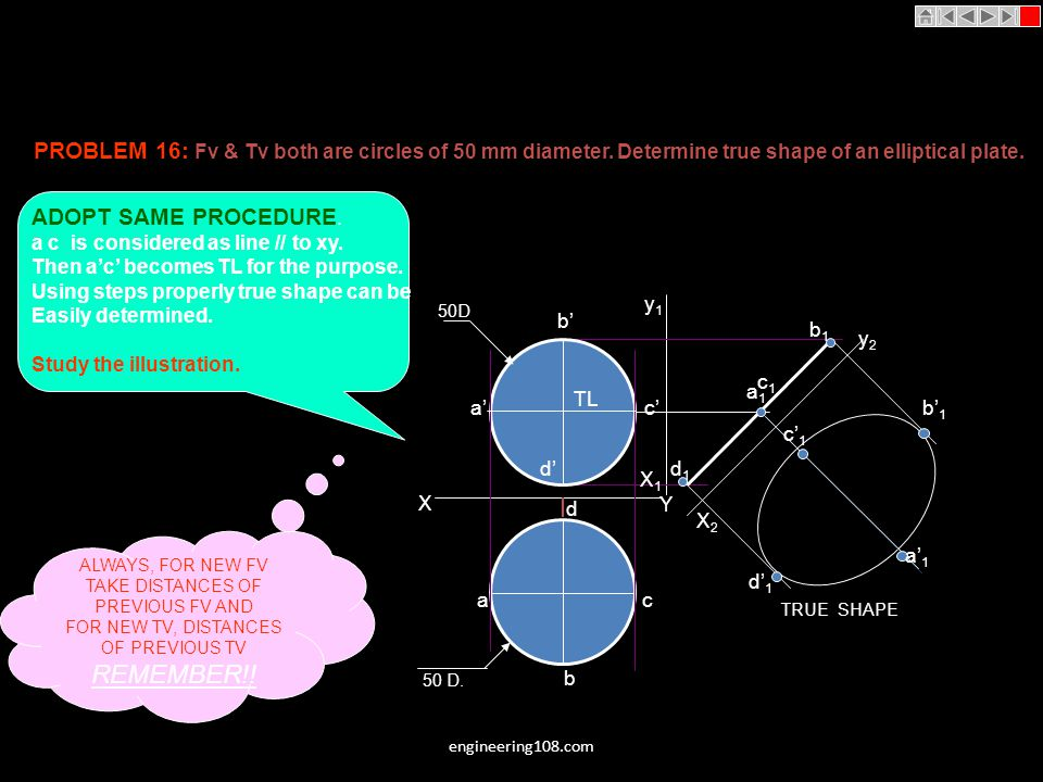 PROBLEM 16: Fv & Tv both are circles of 50 mm diameter