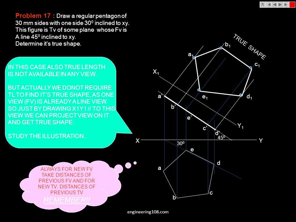 REMEMBER!! Problem 17 : Draw a regular pentagon of