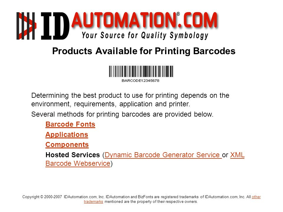 Products Available for Printing Barcodes