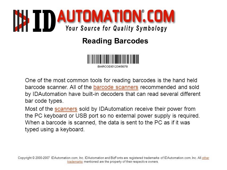 Reading Barcodes