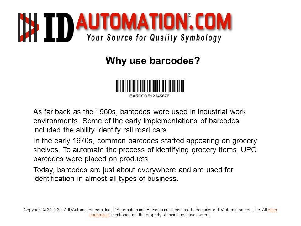 Why use barcodes