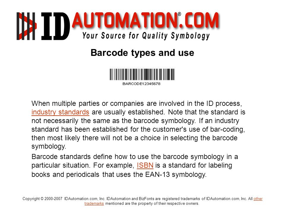 Barcode types and use