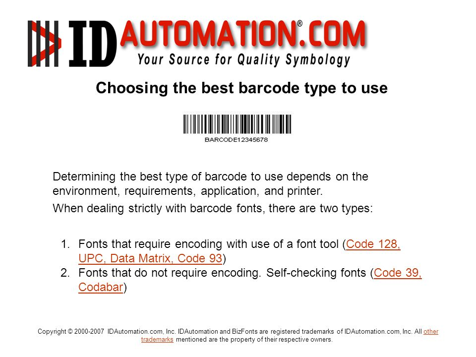 Choosing the best barcode type to use