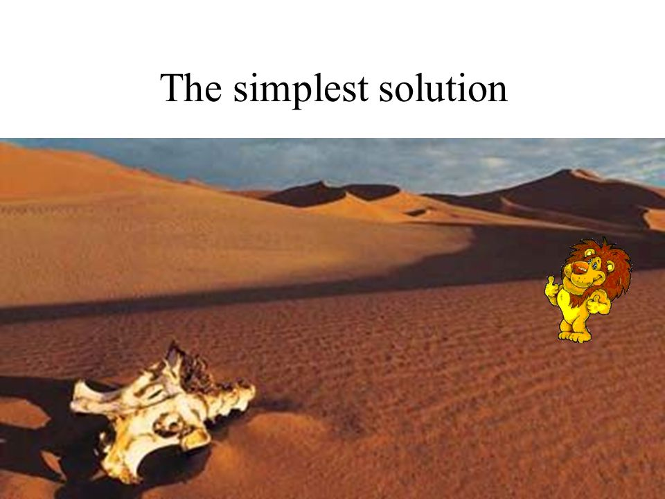 The simplest solution Lion in the desert Lion in the desert