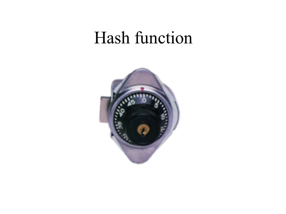 Hash function Key=Numbers  giving access to a storage