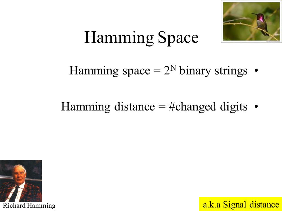 Hamming Space Hamming space = 2N binary strings