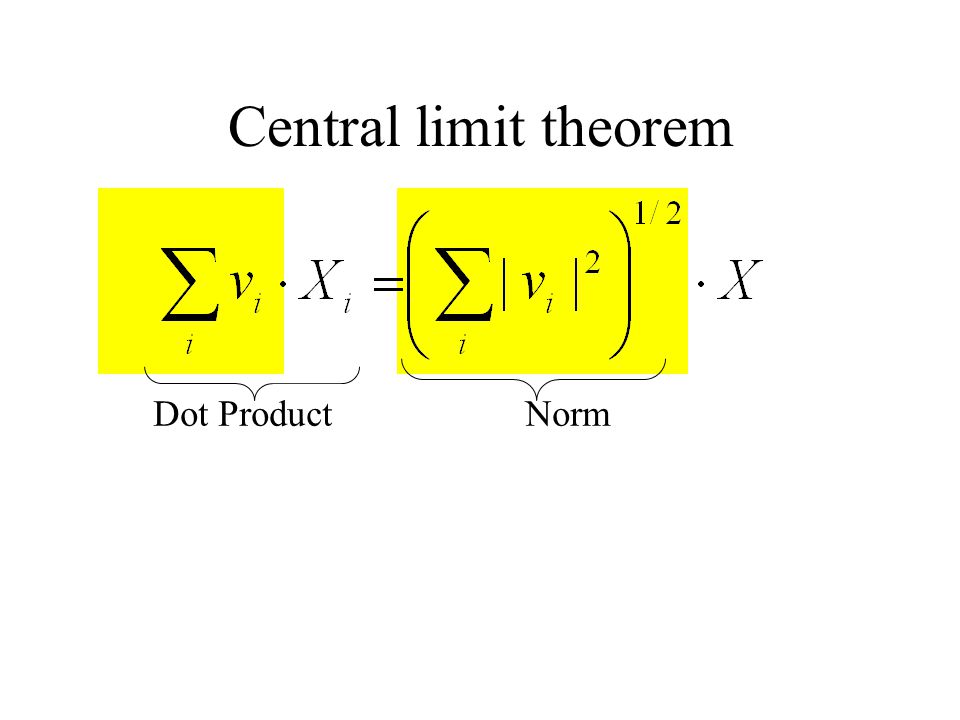 Central limit theorem Dot Product Norm