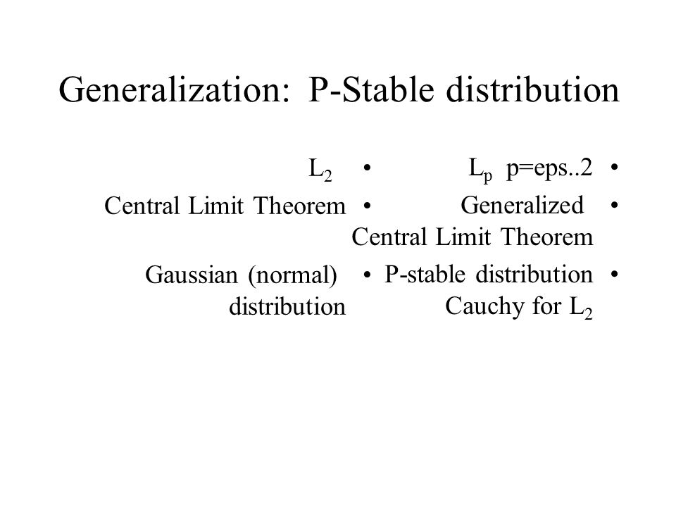 Generalization: P-Stable distribution