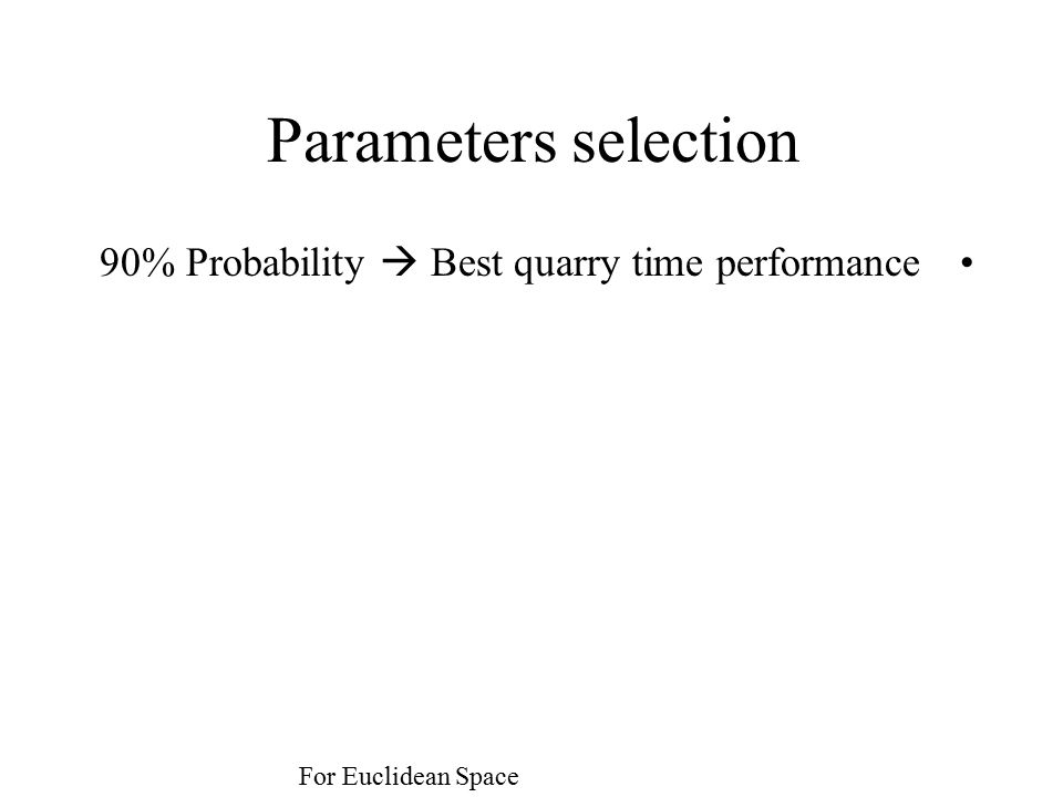 Parameters selection 90% Probability  Best quarry time performance