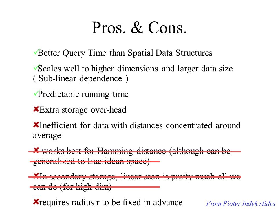Pros. & Cons. Better Query Time than Spatial Data Structures