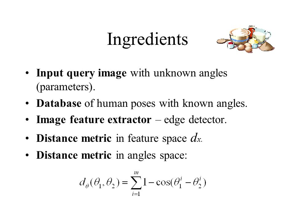 Ingredients Input query image with unknown angles (parameters).