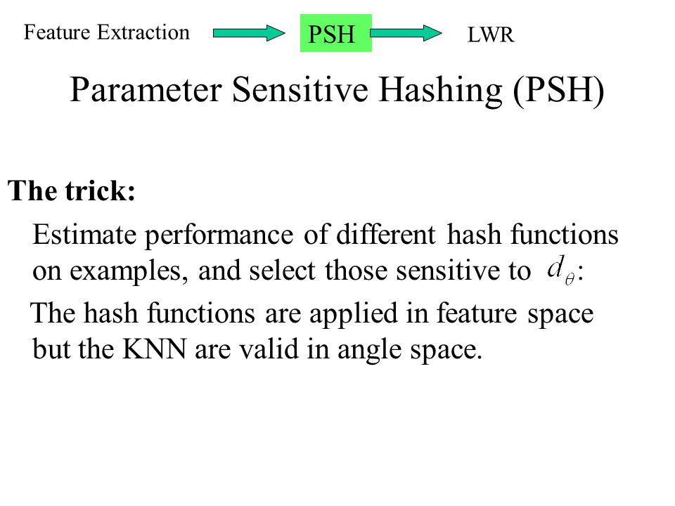 Parameter Sensitive Hashing (PSH)