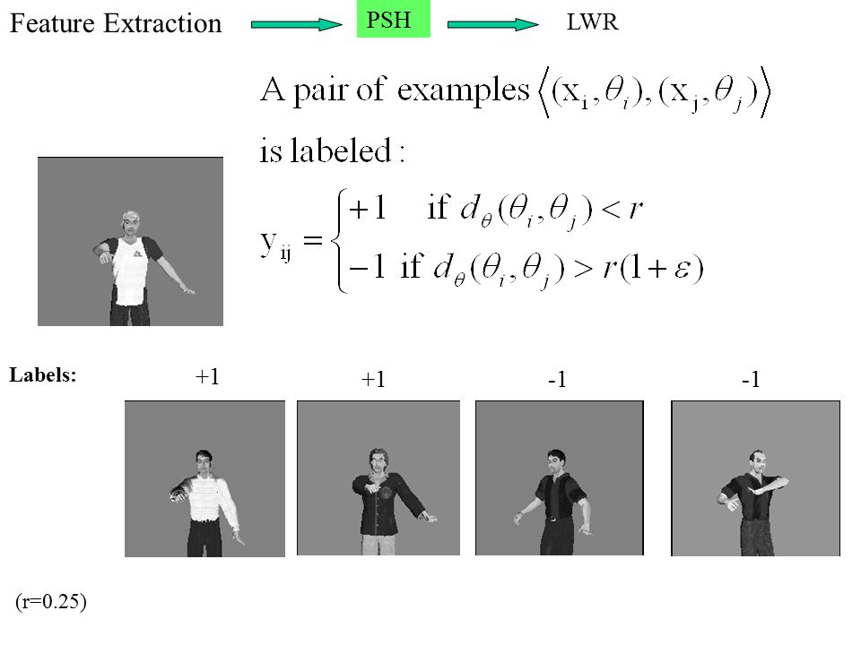 Feature Extraction PSH LWR +1 -1 Labels: (r=0.25)