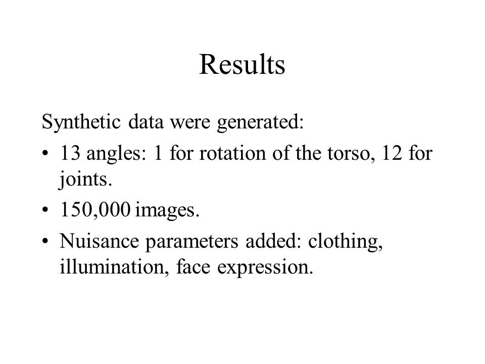 Results Synthetic data were generated:
