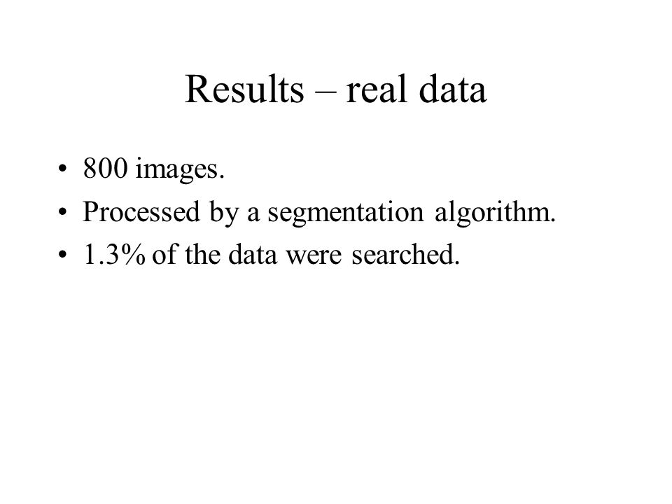 Results – real data 800 images. Processed by a segmentation algorithm.