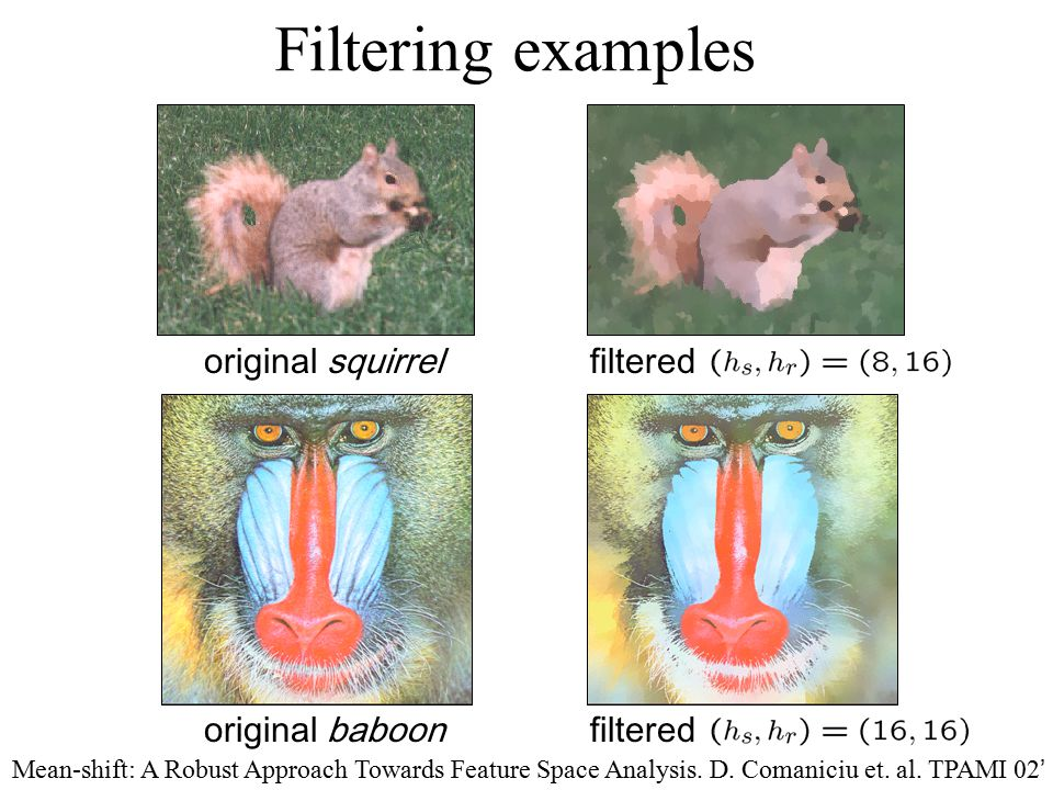Filtering examples original squirrel filtered original baboon filtered