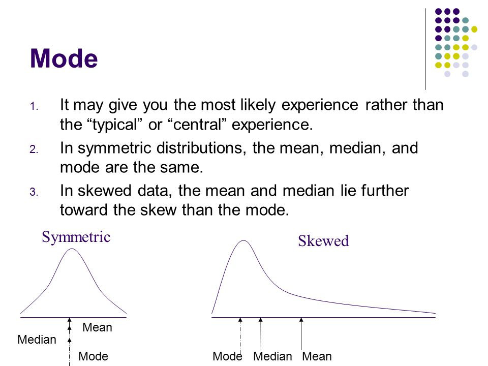 Mode It may give you the most likely experience rather than the typical or central experience.
