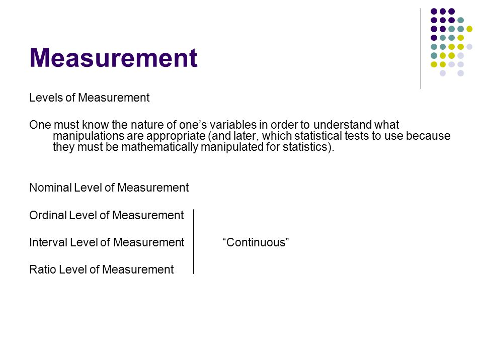 Measurement Levels of Measurement