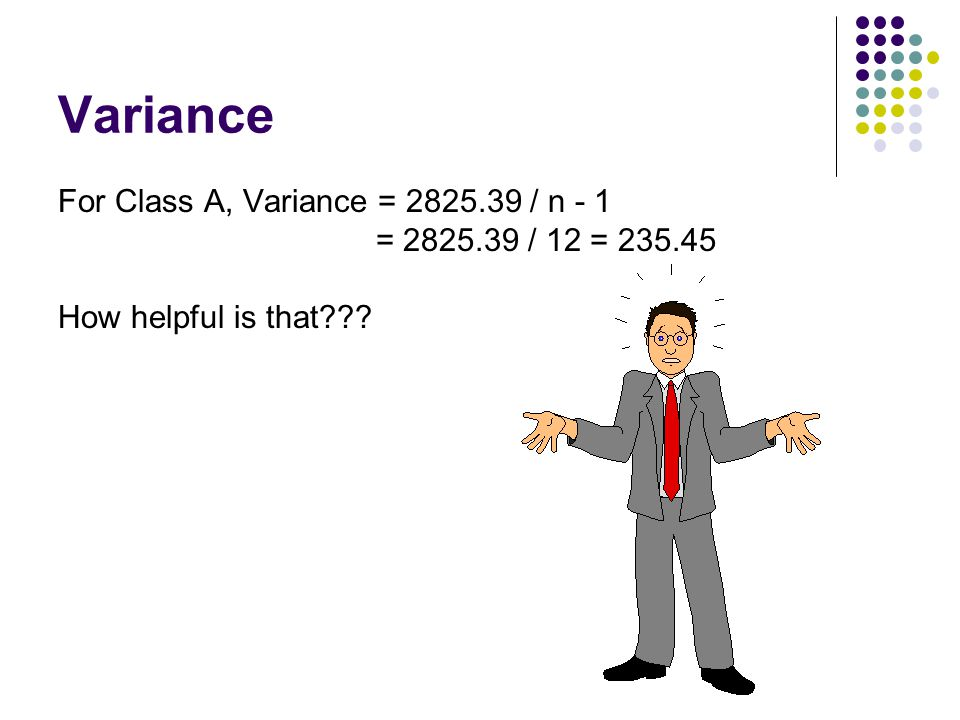 Variance For Class A, Variance = 2825.39 / n - 1