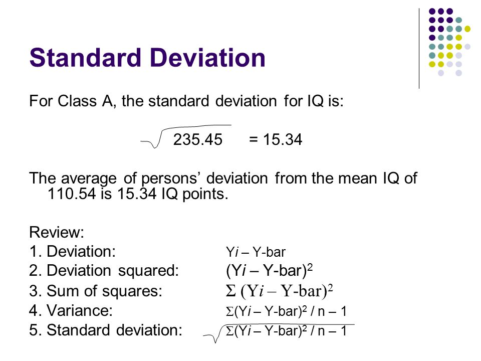 Standard Deviation For Class A, the standard deviation for IQ is: