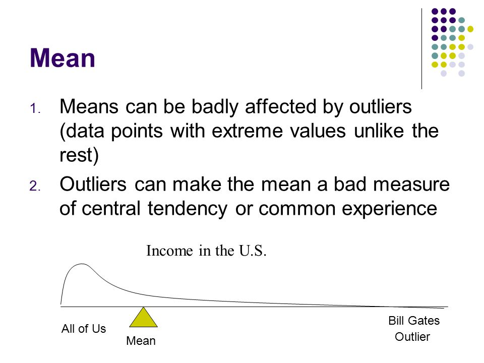 Mean Means can be badly affected by outliers (data points with extreme values unlike the rest)